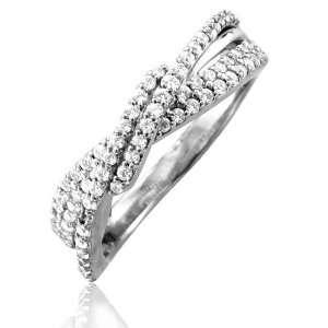 14k White Gold Diamond Wedding/Anniversary Ring Band (I2 I3, HI, 0.50