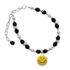 Smiley Face Black Czech Glass Beaded Charm Bracelet