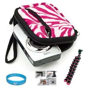 Camera Carrying Case with Pink Zebra Fur Exterior for Sony Cyber shot
