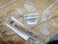 New $145 Sir Alistair Rai Tan White Ganesh Mantra Scarf Wrap Sarong
