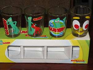 GUMBY Cartoon Character 1.5 Ounce Collectible Shot Glasses Set Of 4