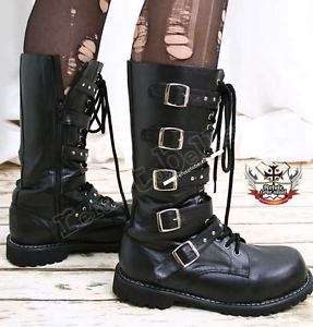Visual Kei/Punk/SHOXX Goth 5 strap BOOT 8/8.5 BLACK 39