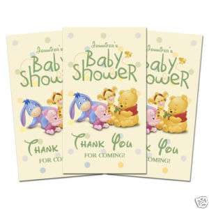 10 BABY POOH BABY SHOWER Party Favor THANK YOU TAGS