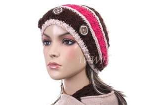 Promo Button Tufted Knit Beanie Hat Winter Cap be451