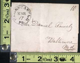 This undated stampless cover was sent to Mr. Daniel Snively and is