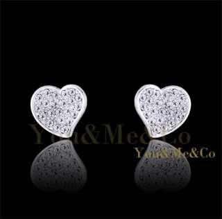 18k White Gold EP Brilliant Cut Crystal Heart Shaped Stud Earrings