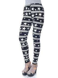 Bold Black White Stripes Stars Twinkle Loud Fashion Fun Skin Tight