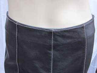 St. John COLLECTION NWOT Brown Leather Skirt Size 4 6