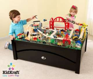 KidKraft Metropolis 100 Piece Wooden Train Table Set 706913179351