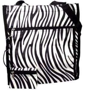 Zebra Animal Print Black White Tote Handbag Purse Bag
