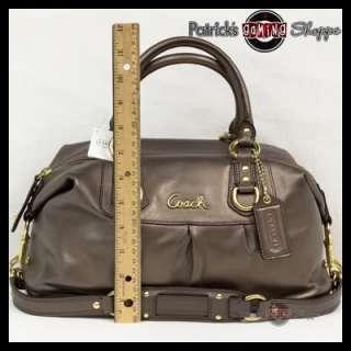 NWT COACH ASHLEY METALLIC LEATHER SATCHEL 15445 STEEL GREY PURSE BAG