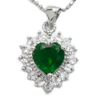 HEART CUT GREEN EMERALD WHITE GOLD GP PENDANT NECKLACE