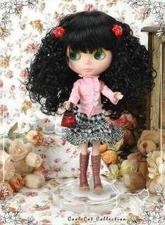CoolCat Custom Blythe Wigs D2 1220 01 Black Curly Hair