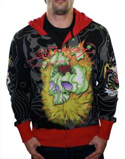 ED HARDY Christian Audigier Mens Bulldog Skull Hoodie Hooded