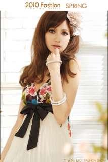 Multicolor Flower Print Bowknot Long Pleated Braces Skirt Women Maxi