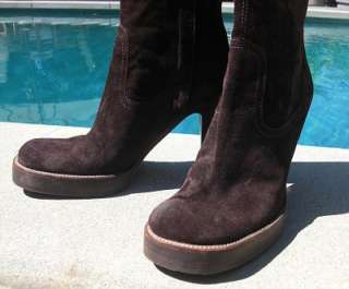 KICK BUTT***$1235 RICK OWENS Brown Suede Boots 38.5