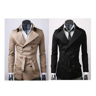 FANCYQUBE MENS CASUAL DOUBLE BREASTED TRENCH COAT SLIM FIT 1284