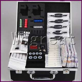 Complete Tattoo Kit 4 Machine Guns Set Equipment Power Supply 40 Color