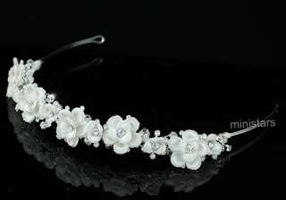 Bridal Handmade Ivory Fabric Crystal Flower Headband Tiara T1435