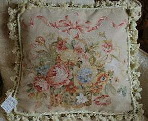 18x18 French Country Petitpoint Needlepoint Pillow 15K