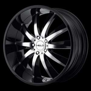 22 x10 Inch Helo HE851 Gloss Black Machined 5 Lugs Wheels Rims FREE