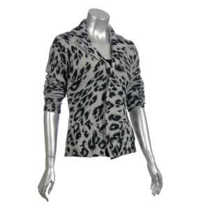 Sutton Studio Womens Leopard Cashmere Sweater Jacket