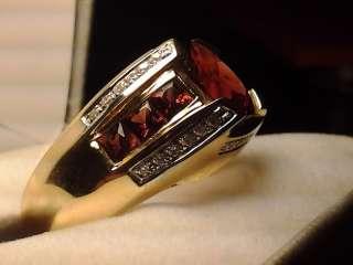 SOLID 14K Yellow Gold Mens Mens Genuine Garnet & Diamond Ring Sz Size