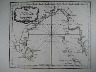 1763 Bellin Map of Bay of Bengal, India, Burma, Siam