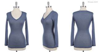 Basic Long Sleeve Slub V Neck Top VARIOUS COLOR and SIZE