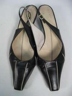 FARRUTX Black Leather Slingbacks Low Heels Shoes Sz 8.5