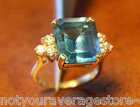14K Yellow Gold Blue Topaz & Diamond Ring 6.6 TCW   Estate Quality
