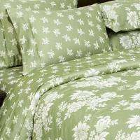 7pc TOILE Green Floral BEDDING DUVET COVER SET King