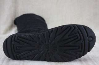 Ugg Australia womens Classic Cardy Crochet Knit Knee Boots Black 8