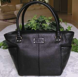 NEW KATE SPADE YARDLEY TRACY LEATHER BAG PURSE TOTE BLACK NWT