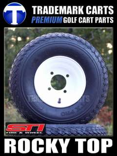 CART TIRES AND 8 WHITE STEEL WHEELS FOR EZGO CLUB CAR YAMAHA