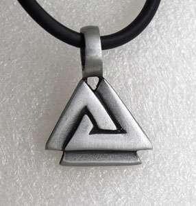 Valknut Triquetra Triangle Norse Silver Pewter Pendant
