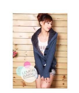 New Korean Women Cute Blue Seed Stitch Cashmere Cardigan Sweater