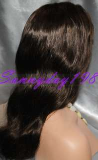 16 #2 Dark Brown Body Wave 100% Indian Remy Human Hair Lace Front Wig