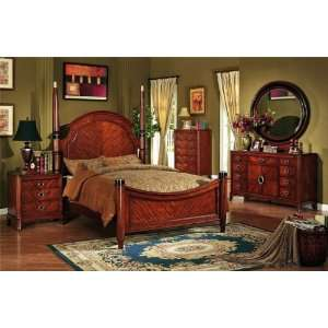 retro style cherry brown finish wood bedroom set