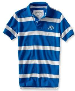 mens striped embroidered A87 Logo polo shirt   Style 2046