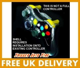 XCM Xbox 360 Wireless Chrome Controller Shell/Yellow LED/D Pad /Auto