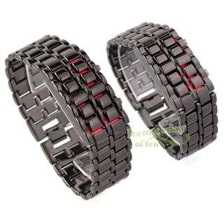 Women Mens Couple Black Watch Quartz Lava LED Red Digital Date Time