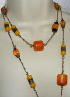 SADIE GREEN faux amber lucite & glass Bead NECKLACE Long costume