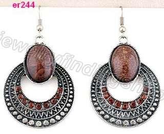 nice Tibetan Silver rotundity Crystal dangle Earrings er241 244