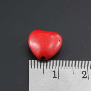 10 Red Heart Shape Drilled Beads Natural Finding 1 cm