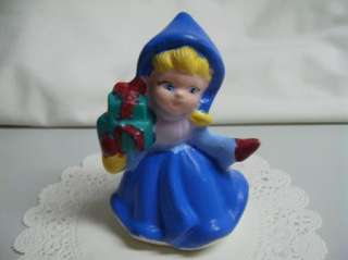Vintage Sweet Victorian Style Christmas Shopping Girl Figurine Hand