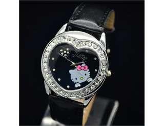 Cute Heart HelloKitty lovely Girl Kid Quartz WristWatch Leather Watch