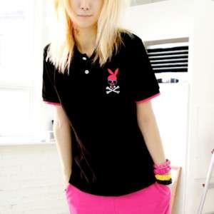 Punk Unisex Bloodycat Casual Skull Bunny Polo Shirt