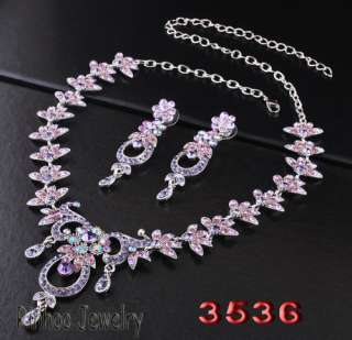 Purple Circle Flowers Leafs AB Rhinestone Crystal Bridal Prom Necklace