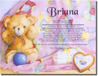 TEDDY BEAR 1st Name Meaning Print Personalized ANY NAME